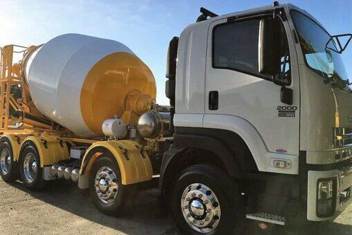 White and yellow premix concrete truck